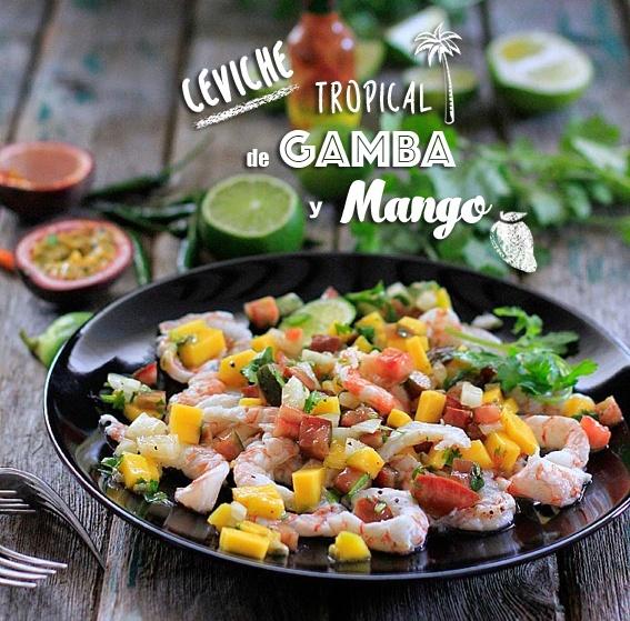 Receta de ceviche de mango de la costa tropical y gamba roja de Motril