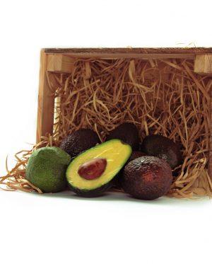 Caja de madera de 4kg de aguacate hass de la Costa Tropical de Granada y Málaga