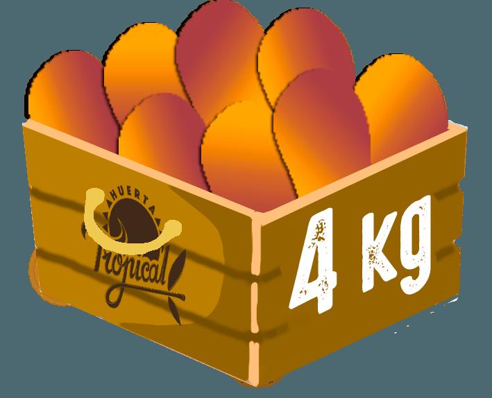 caja de cuatro kilogramos de mangos