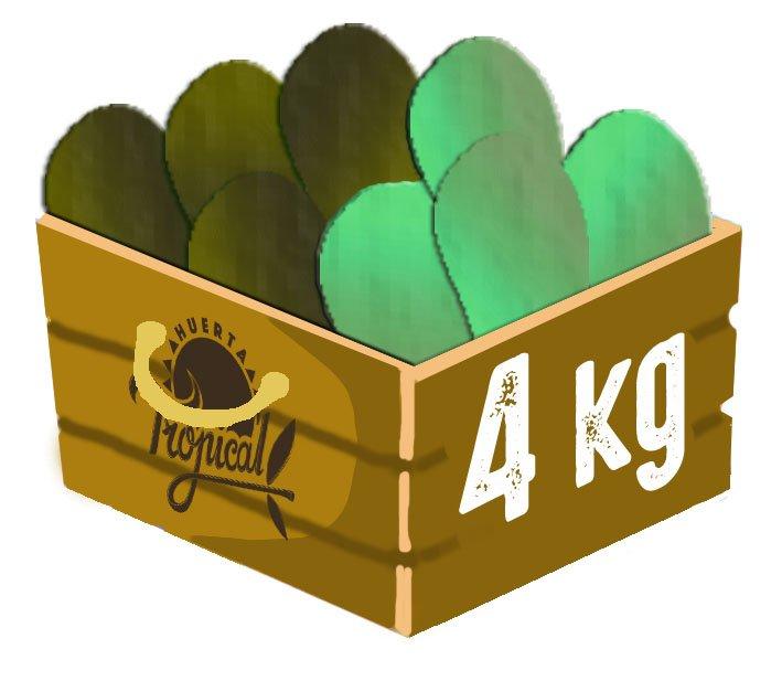 caja de cuatro kilos con aguacates y chirimoyas