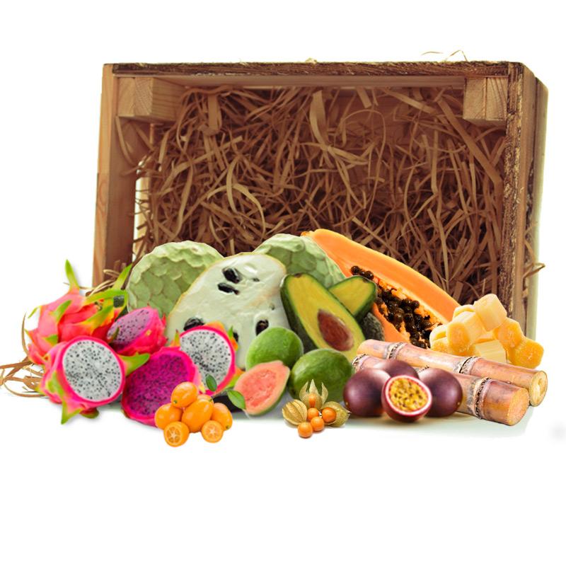 caja surtida de frutas tropicales