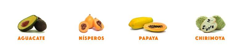 Compra un surtido de fruta tropical aguacate, nísperos, papaya, chirimoya