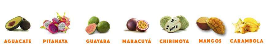 frutas en surtido guayaba mangos aguacates pitahaya chirimoya maracuyá carambola