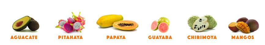 frutas en surtido papaya mangos aguacates pitahaya chirimoya