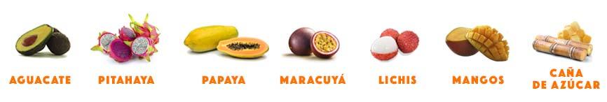 papaya mangos aguacates pitahaya lichis maracuyá caña de azúcar