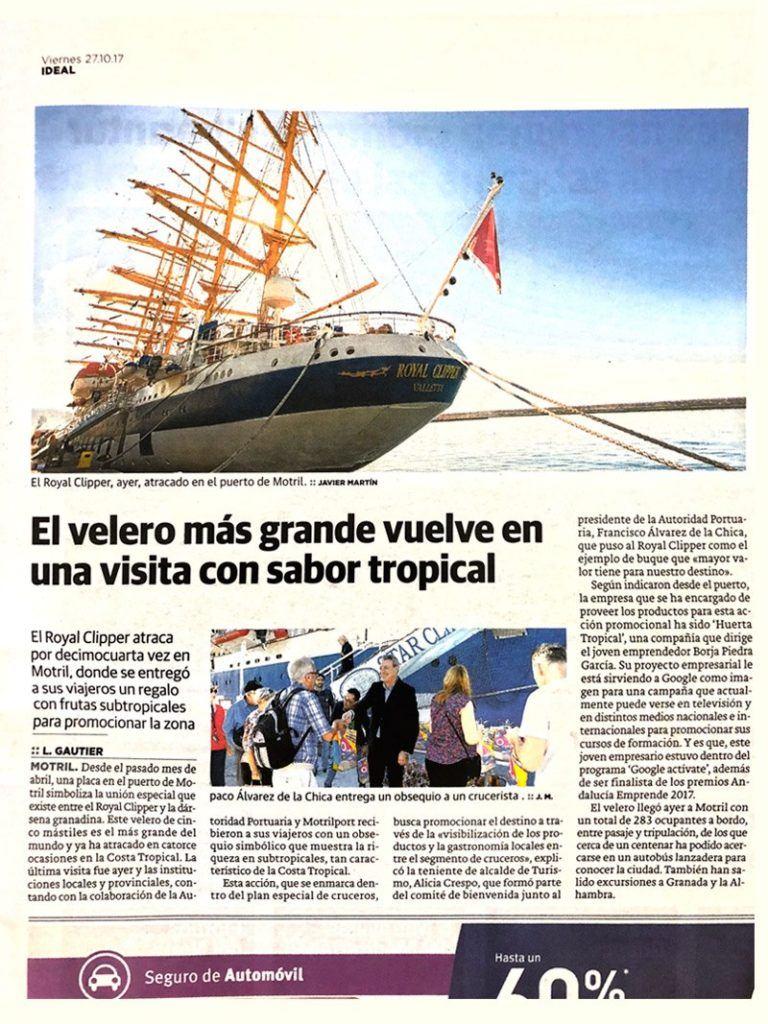 El velero Royal Clipper, el velero más grande del mundo, visita Motril y descubre la fruta tropical de Huerta Tropical